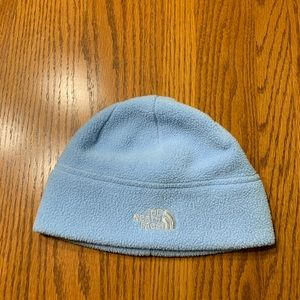 Women's The North Face beanie in blue.